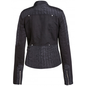 Stylish Stand-Up Collar Long Sleeve Asymmetrical Women's Motorcycle Jacket -