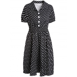 Graceful Flat Collar Short Sleeve Polka Dot Plus Size Women's Dress