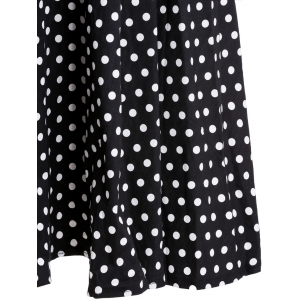 Graceful Flat Collar Short Sleeve Polka Dot Plus Size Women's Dress -