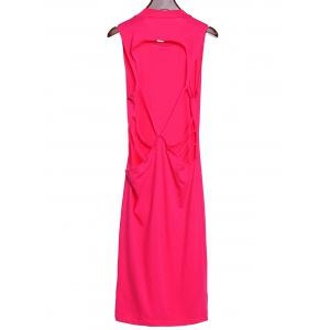 Stylish Stand Collar Sleeveless Backless Hollow Out Dress For Women