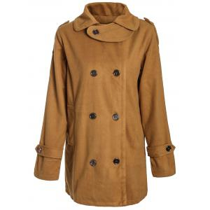 Stylish Turn-Down Neck Long Sleeve Double-Breasted Pocket Design Women's Coat - Earthy - Xl