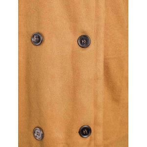 Stylish Turn-Down Neck Long Sleeve Double-Breasted Pocket Design Women's Coat - EARTHY L