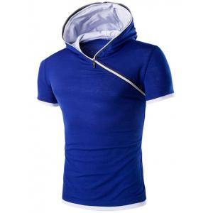 Hooded Solid Color Zipper Design Short Sleeve T-Shirt For Men - Blue - M
