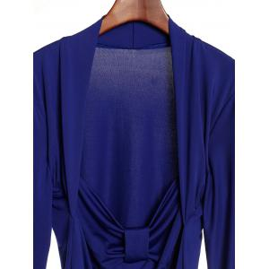 Sexy Sweetheart Neck Long Sleeve Ruched T-Shirt For Women - BLUE S
