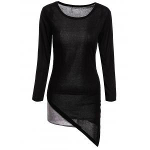 Stylish Scoop Neck Long Sleeves Color Splicing Irregular Hem Flocking Dress For Women - Black - Xl