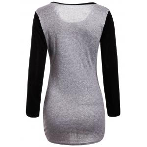 Stylish Scoop Neck Long Sleeves Color Splicing Irregular Hem Flocking Dress For Women - BLACK M