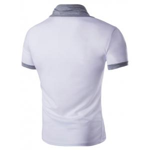 Stand Collar Solid Color Short Sleeve T-Shirt For Men - WHITE 2XL