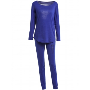 Chic Solid Color Long Sleeve Ripped Blouse and Bodycon Drawstring Pants Twinset For Women