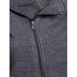 Long Neck Hoodie Zippered élégant Turn-Down solide Femmes Couleur - Gris Taille Unique(S'adap
