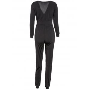 Sexy Plunging Neck Long Sleeve Solid Color Pocket Design Women's Jumpsuit - BLACK M