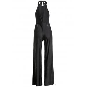 Stylish Halter Sleeveless Hollow Out Solid Color Women's Jumpsuit -