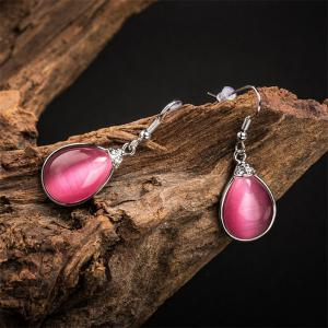 Pair of Vintage Faux Gem Teardrop Drop Earrings -