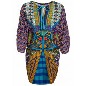 Women's Chic Ethnic Print V-Neck Dress - Colormix - M