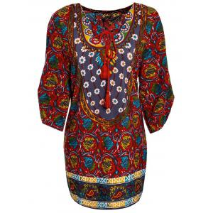 Women's Chic Colorful 3/4 Sleeve Lace-Up Ethnic Print V-Neck Dress - Colormix - M