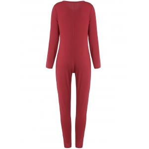 Buttoned Long Sleeve Ankle Skinny Jumpsuit - WINE RED L