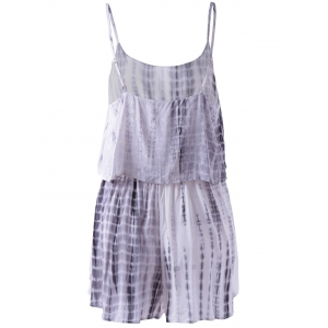 Spaghetti Strap Tie Dye Romper - GREY AND WHITE S
