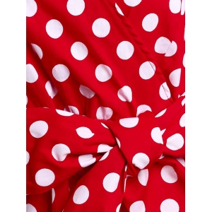 Vintage 3/4 Sleeve Bowknot Belted Polka Dot Printed Ball Gown Dress For Women - RED M