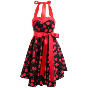Vintage Sleeveless Halter Cherry Print Women's Swing Dress
