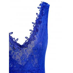 Sheer Lace Backless Maxi Evening Dress - BLUE S
