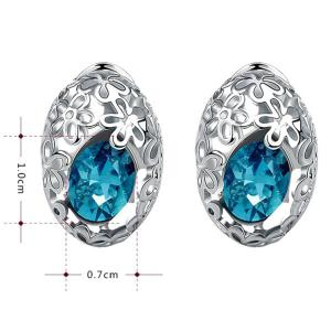 Pair of Delicate Cut Out Flower and Oval Faux Gem Earrings For Women - SILVER