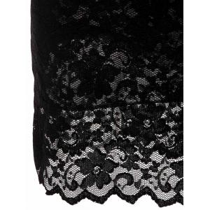 Lace Sheath Pencil Dress with Sleeves - BLACK M