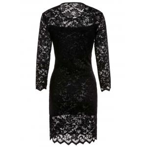 Lace Sheath Pencil Dress with Sleeves -