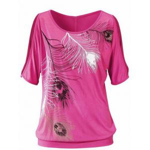 Casuall Short Sleeve Feather Graphic Design T-Shirt
