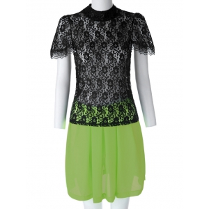 Sexy Turtle Neck Short Sleeve Lace See-Through Blouse + Solid Color Skirt Women's Twinset