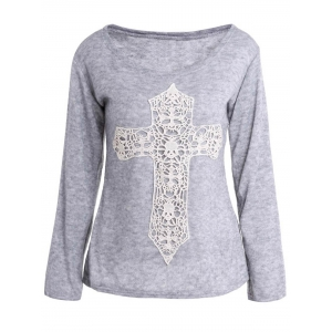 Casual Scoop Neck Laced Crucifix Pattern Long Sleeve T-Shirt For Women