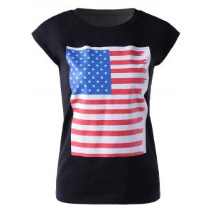 Casual Round Neck Colorful Print Sleeveless T-Shirt For Women - Black - S