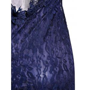 Sexy Plunging Neck Short Sleeve Spliced See-Through Bodycon Women's Lace Dress -