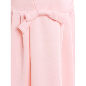 Women's Chic Jewel Neck 3/4 Sleeve Solid Color Bowknot Decorated Dress - PINK S