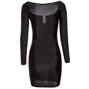 Sexy Square Neck Long Sleeve Low Cut Solid Color Women's Dress -