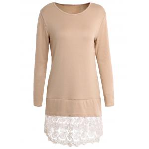 Sweet Round Collar Laced Long Sleeve Dress For Women
