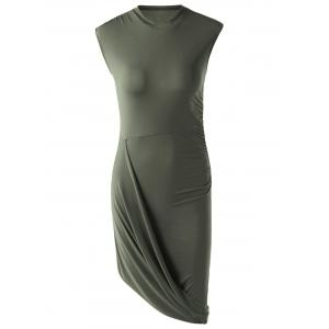 Trendy Solid Color Sleeveless Pleated Asymmetric Dress For Women - Army Green - Xl