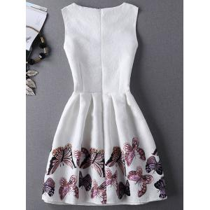 Jewel Neck Sleeveless Pleated Dress with Butterfly Print - WHITE XL