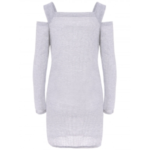 Stylish Square Neck Shoulder Hollow Out Solid Color Long Sleeve Slimming Ribbed Cotton Women's Dress -