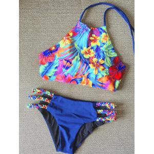 Tropical Print Halter High Neck Braided Bikini Set