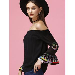 Refreshing Women's Flare Sleeve Off The Shoulder Blouse - BLACK XL