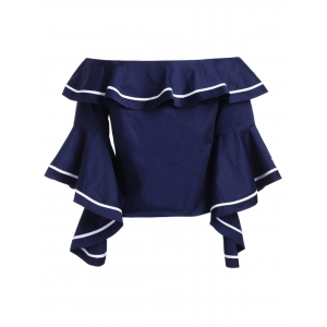Preppy Off The Shoulder Ruffle Flare Sleeve Blouse For Women -