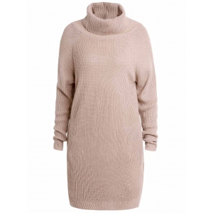 Stylish Turtleneck Long Sleeve Pure Color Loose-Fitting Women's Long Sweater - Light Apricot - Xl