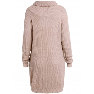 Stylish Turtleneck Long Sleeve Pure Color Loose-Fitting Women's Long Sweater -