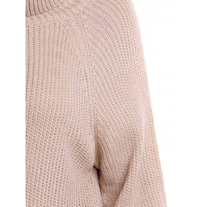 Stylish Turtleneck Long Sleeve Pure Color Loose-Fitting Women's Long Sweater - LIGHT APRICOT XL