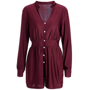 Casual Plunging Neck Solid Color Long Sleeve Mini Shirt Dress For Women