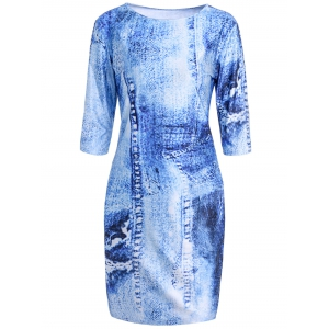 Stylish Round Collar 3/4 Sleeve Faux Denim Printed Bodycon Dress For Women - Blue - L