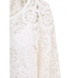 Long Sleeve Crochet Lace Dress with Tank Top - WHITE L