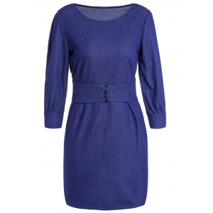 Jewel Neck 3/4 Sleeve Bodycon Jean Dress - Deep Blue - 2xl