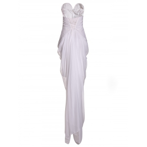 Noble White Strapless Irregular Pleated High Slit Chiffon Maxi Dress For Women -