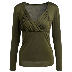 Sexy Sweetheart Neck Long Sleeve Ruched Solid Color Women's T-Shirt