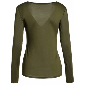 Sexy Sweetheart Neck Long Sleeve Ruched Solid Color Women's T-Shirt - BLACKISH GREEN M